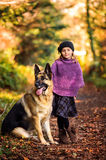 A Girl and a Dog Royalty Free Stock Photo
