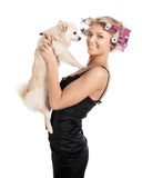The girl with the doggie Royalty Free Stock Image