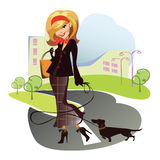 Girl with the doggie on walk. Vector animated  illustration of the lady with the doggie on walk Stock Photography