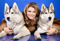 Girl with a dogs Royalty Free Stock Photo