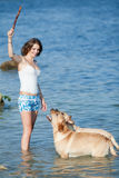 Girl with dogs Royalty Free Stock Image