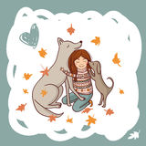 Girl with dogs in autumn illustration Stock Image