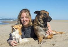 Girl and dogs on the beach. Girl and two dogs on the beach Stock Photo