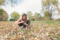 Beautiful young girl with her Yorkshire terrier dog puppy enjoying and playing in the autumn day in the park selective focus royalty free stock images