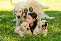 Girl and dogs outdoors stock photos