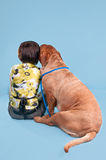 Girl with dogue de bordeaux on blue Royalty Free Stock Photo