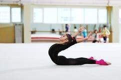 Girl doing backfold  training Royalty Free Stock Image