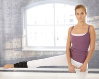 Girl doing ballet exercise Royalty Free Stock Image