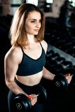 Girl doing bicep exercise with dumbbells royalty free stock photography