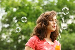 Girl doing bubble soap Royalty Free Stock Photos