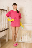 Girl doing cleaning Stock Photos