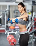 Girl doing deltoid workout Stock Photos