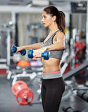 Girl doing deltoid workout Royalty Free Stock Photo