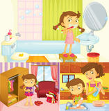 Girl doing different activities at home Royalty Free Stock Image