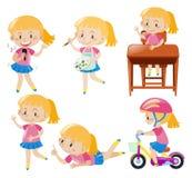 Girl doing different activities Stock Photos