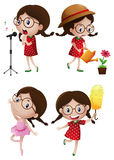 Girl doing different activities Stock Image