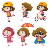 Girl doing different activities Stock Images