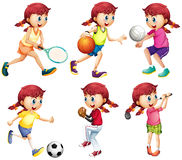 Girl doing different type of sports vector illustration