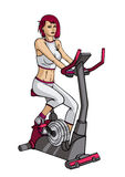 Girl doing exercise on a velosimulator Stock Photos