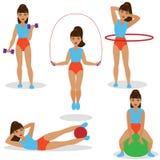 Girl Doing Exercises Set Stock Image