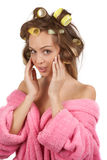 Girl doing facial massage Stock Photos