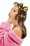 Girl doing facial massage Royalty Free Stock Images