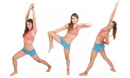 Girl doing fitness excersises Stock Photography
