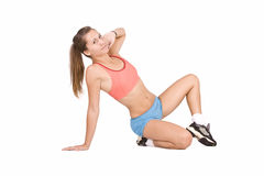Girl doing fitness excersises Royalty Free Stock Photos