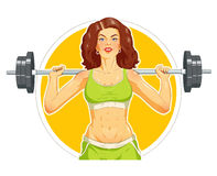 Girl doing fitness exercise with barbell Royalty Free Stock Photos