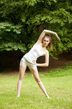 Girl doing fitness Royalty Free Stock Photography