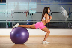 Girl doing fitness Stock Photography
