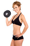 Girl doing free weights Royalty Free Stock Photo