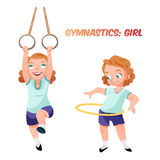 Girl doing gymnastic exercises  illustration Stock Images