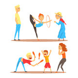 Girl doing gymnastics dance with hoop. Juggler playing with pins. Circus or street actors set of colorful cartoon Royalty Free Stock Photography