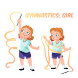 Girl doing gymnastics  illustration Royalty Free Stock Images