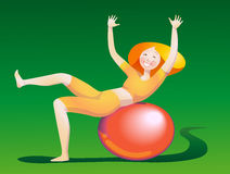 A girl doing gymnastics Stock Photos