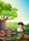 A girl doing her assignment outdoor. Illustration of a girl doing her assignment outdoor Royalty Free Stock Photos