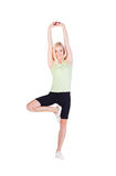 Girl doing her exercise in heron pose Stock Photography