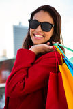 Girl doing her shopping Royalty Free Stock Images