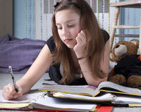 Girl Doing Homework Royalty Free Stock Image