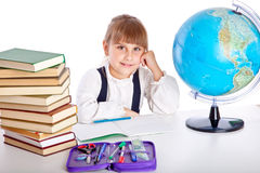 Girl is doing homework Royalty Free Stock Photos