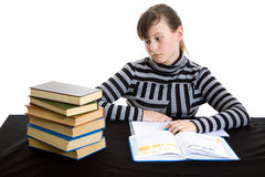 Girl doing homework Royalty Free Stock Photos