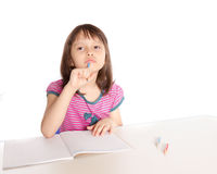 Girl doing homework, deep in thought Royalty Free Stock Photos