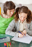 Girl doing homework with her mom Royalty Free Stock Photo