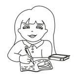 Girl doing homework. Illustration of girl doing homework Stock Image