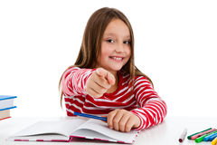 Girl doing homework isolated on white background Stock Photo