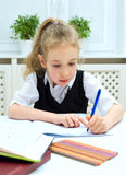 Girl doing homework. Royalty Free Stock Photo