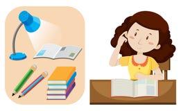 Girl doing homework on table. Illustration Stock Photo