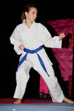 Girl doing karate in unsaggio year-end Stock Photo
