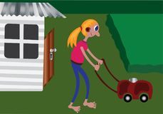 Lawn Mowing. Girl doing lawn mowing in the backyard Royalty Free Stock Photos